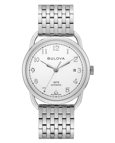 Bulova 96B326 Commodore Limited Edition Auto Silver Tone Dial Stainless 38mm Watch