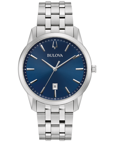 Bulova 96B338 Sutton Calendar, Slim Movement Silver-Tone Stainless Steel 40mm Watch