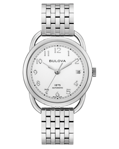 Bulova 96M153 Commodore Limited Edition Auto Silver Tone Dial Stainless 34mm Watch