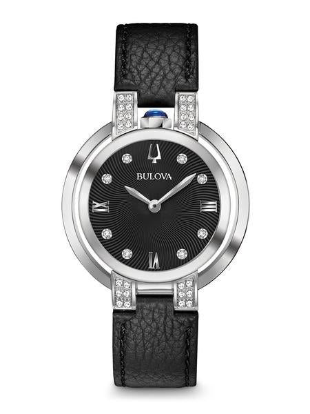 Bulova 96R217 Women's Rubaiyat Black Leather Strap Watch