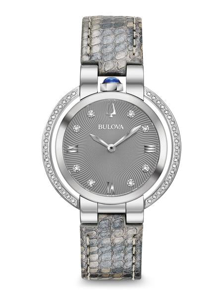 Bulova 96R218 Women's Rubaiyat Grey Dial Python Leather Watch