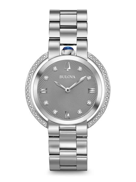 Bulova 96R219 Women's Rubaiyat Grey Dial Diamond 35mm Watch
