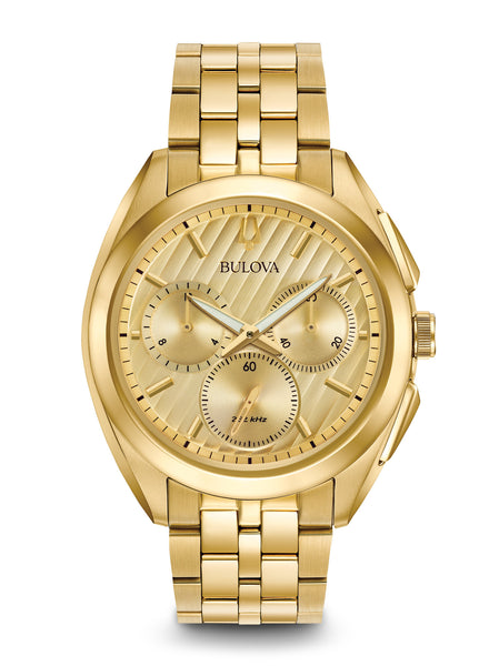 Bulova 97A125 Curv Gold Tones Stainless Steel Chronograph Watch