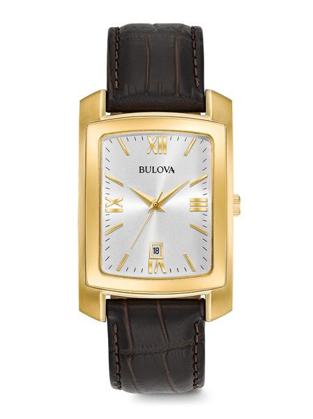Bulova 97B162 Mens Leather Strap Rectangle Watch