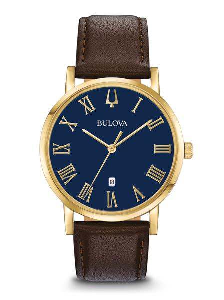 Bulova 97B177 Men's Blue Dial Brown Leather Strap Watch