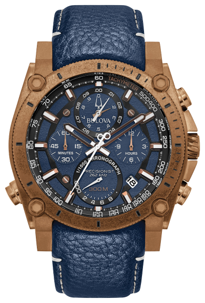 Bulova 97B186 Precisionist 46.5mm Chronograph Leather Watch