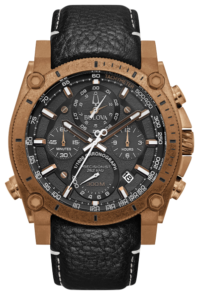 Bulova 97B188 Precisionist 46.5mm Chronograph Leather Watch