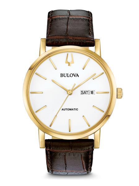 Bulova 97C107 Men's Classic Automatic Leather Strap Watch