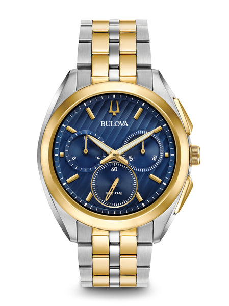 Bulova 98A159 Curv Mens Stainless Steel Blue Dial Chronograph Watch