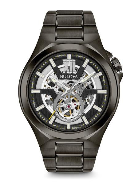 Bulova 98A179 Mens Black Skeleton Dial Automatic Watch