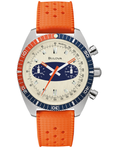 Bulova 98A254 Chronograph A 40.5mm Case Orange Surfboard Watch