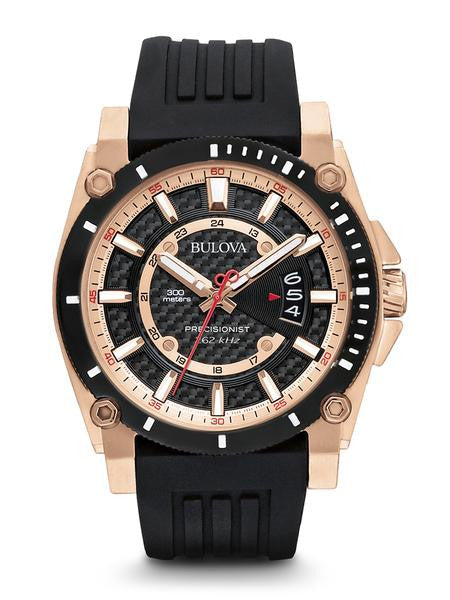 Bulova 98B152 Mens Watch Rose Gold Tone Precisionist Champlain Black Dial Rubber Strap