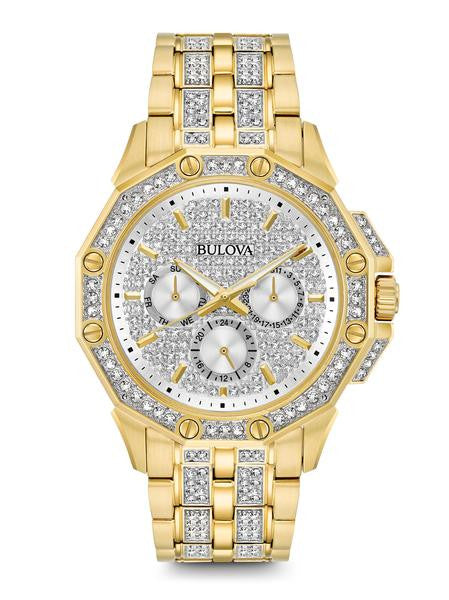 Bulova 98C126 Mens Gold Tone Stainless Steel Crystal Watch