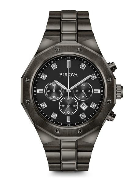 Bulova 98D142 Mens Black Stainless Steel Diamond Watch
