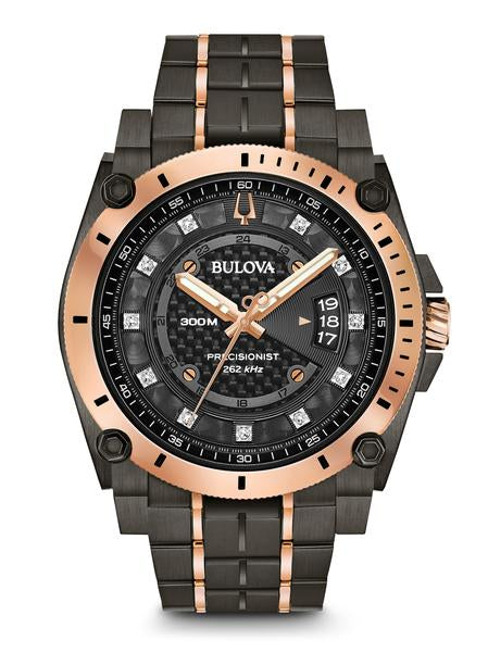 Bulova 98D149 Men's Precisionist Diamond Grey & RoseGold Watch