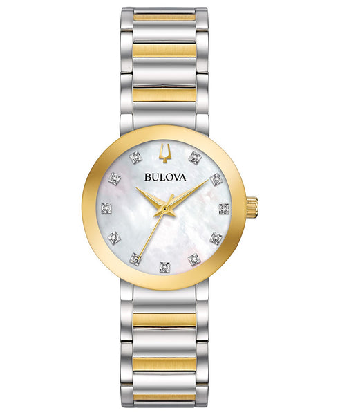 Bulova 98P180 Ladies Two Tone Mother of Pearl Dial Watch