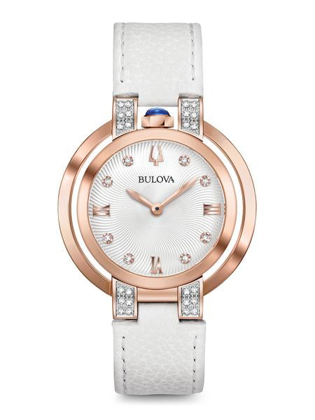 Bulova 98R243 Women's Rubaiyat White Leather Strap Watch