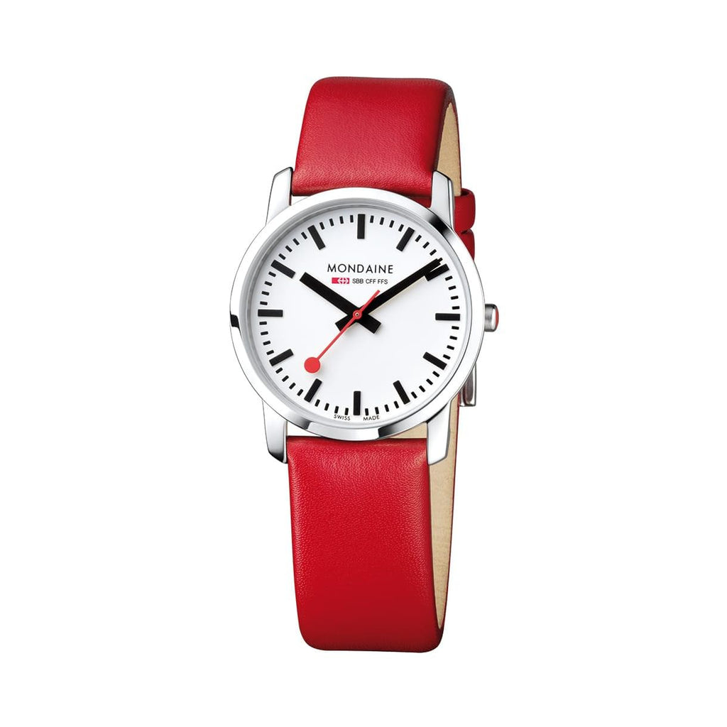 Mondaine A400.30351.11SBC Simply Elegant Red Leather Watch
