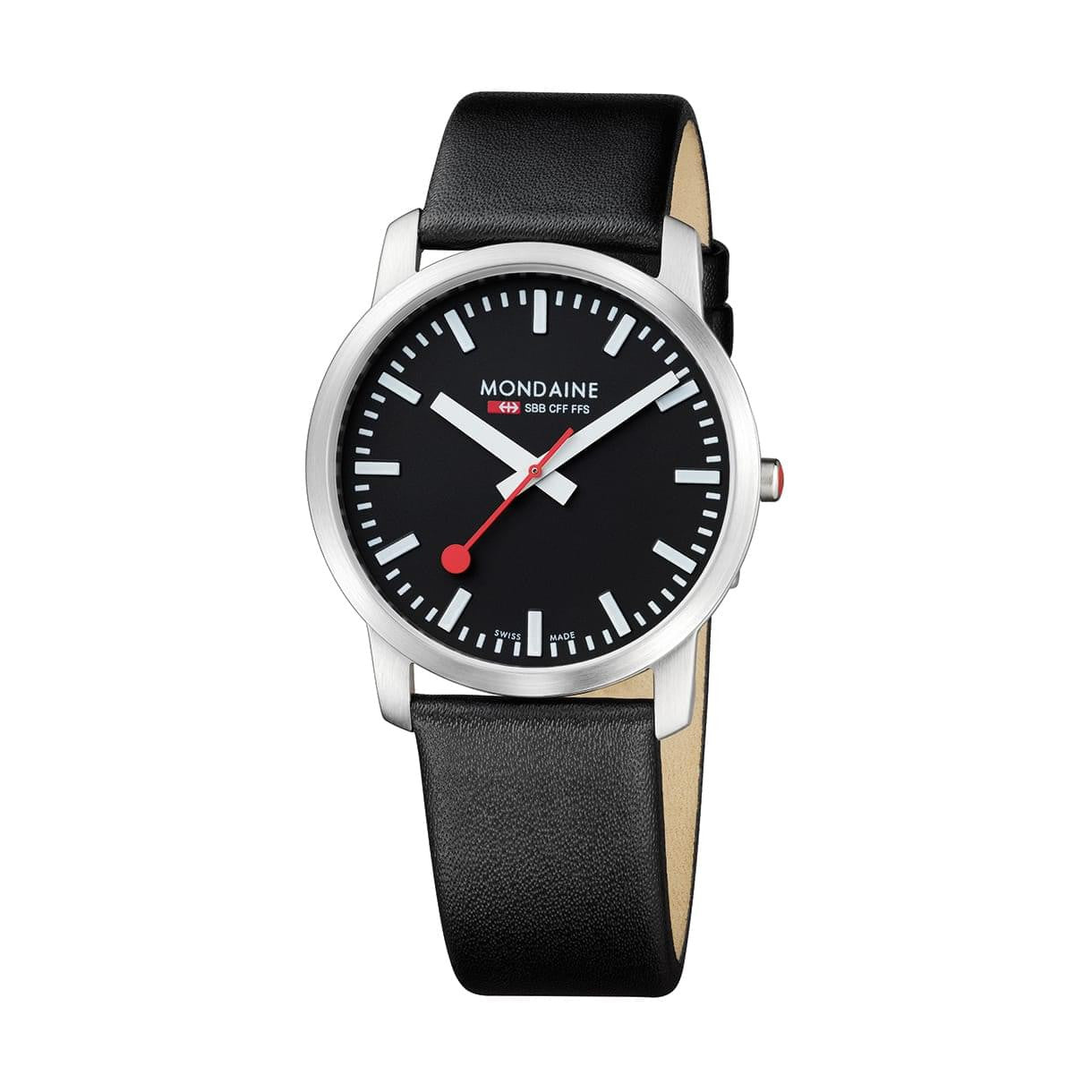 Mondaine A638.30350.14SBB Simply Elegant Black Leather Watch