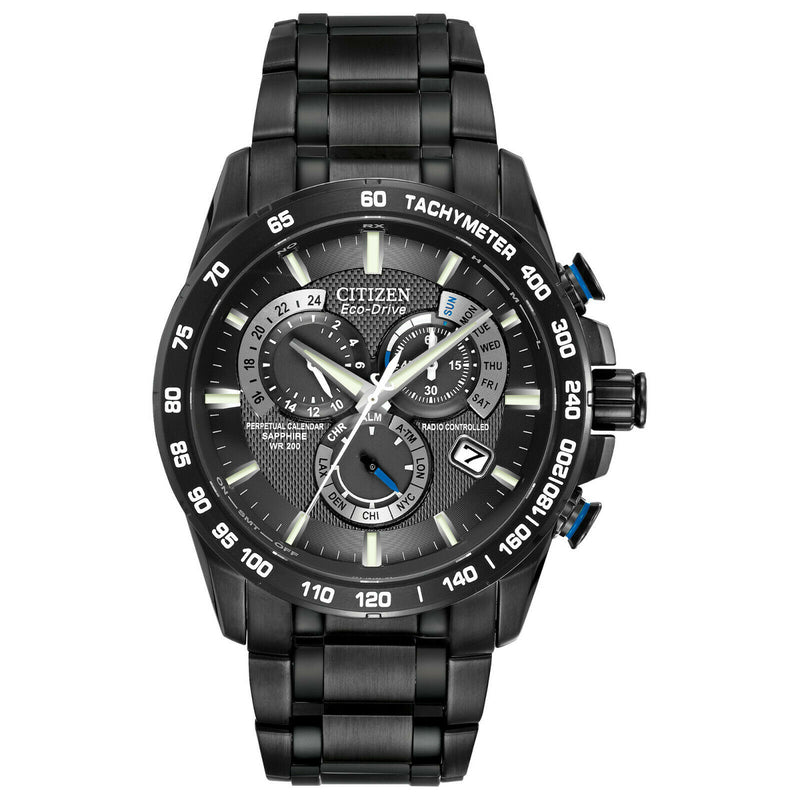 Citizen AT4007-54E Men's Chronograph AT Black Stainless Steel Watch