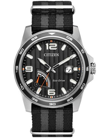 Citizen AW7030-06E Mens Nylon Stap Black Dial 41.5mm Watch