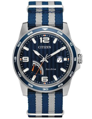 Citizen AW7038-04L Mens Blue Dial Nylon Strap 42mm Watch