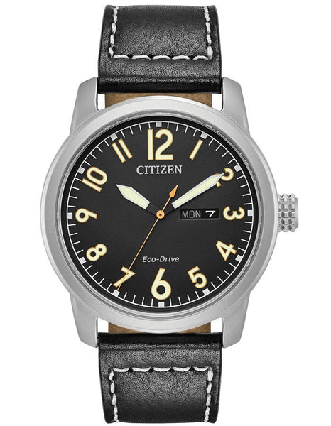 Citizen BM8471-01E Mens Black Dial Leather Strap Watch