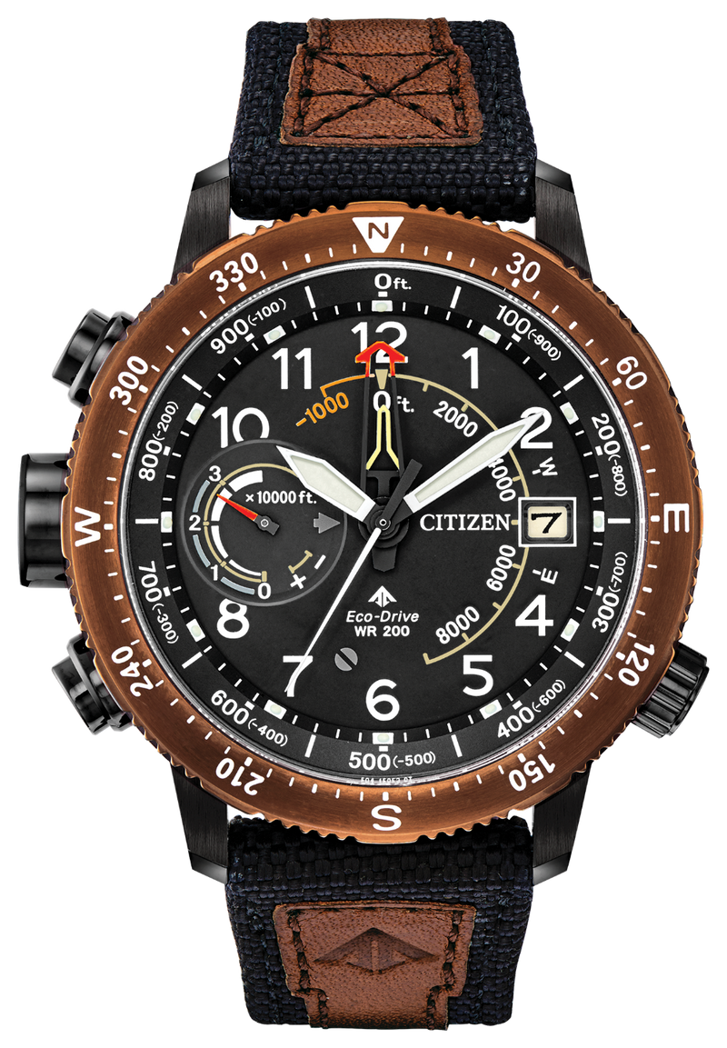 Citizen BN5055-05E Promaster Altichron Black / Brown Nylon 47mm Case Eco-Drive Watch