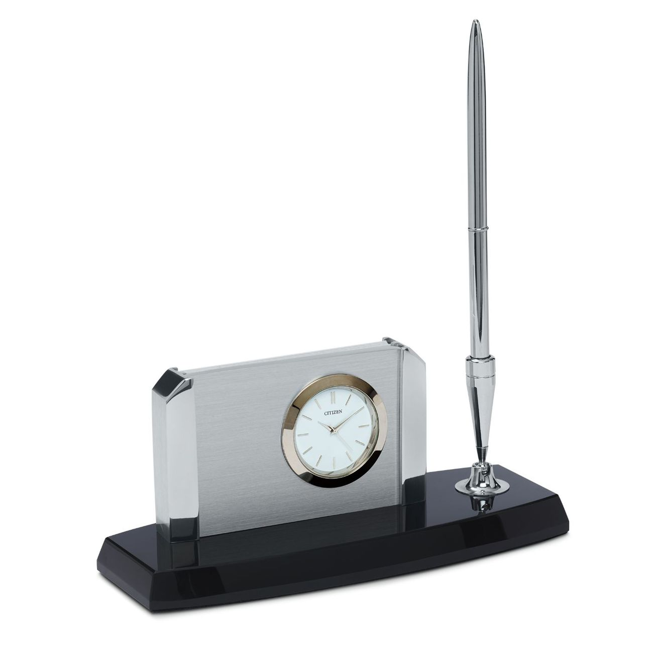 Citizen CC1004 Executive Suite Quartz Black , Silver & Crystal Desk Clock