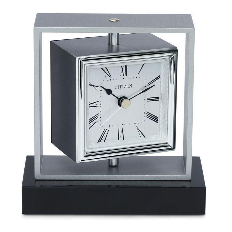 Citizen CC1007 Executive Square Brushed Aluminum Desk Clock