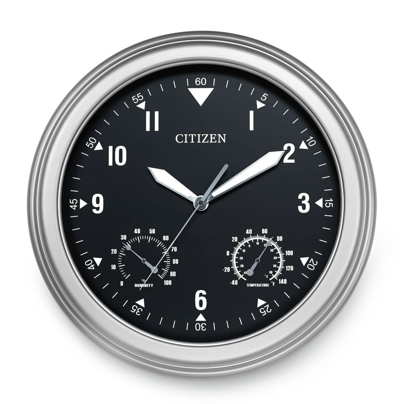 "Citizen CC2017 Outdoor Water-resistant Silver Tone Circular 18"" clock"