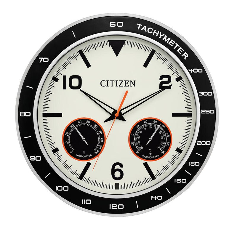"Citizen CC2019 Outdoor Water-resistant Black & Silver Tone Circular 18"" clock"