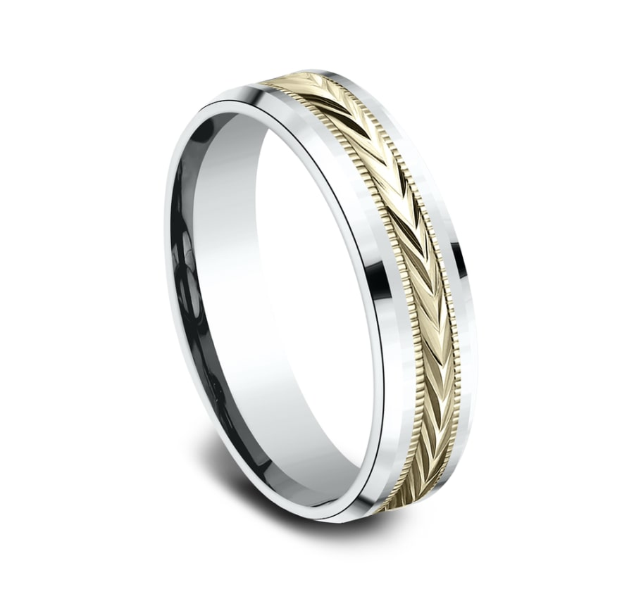 Benchmark CF206003 Multi Color 14k 6mm Men's Wedding Band Ring