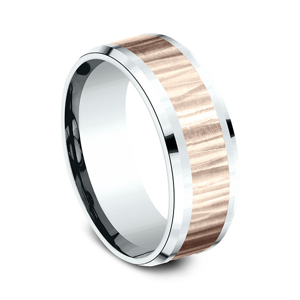 Benchmark CF228614 Multi Color 14k 8mm Men's Wedding Band Ring