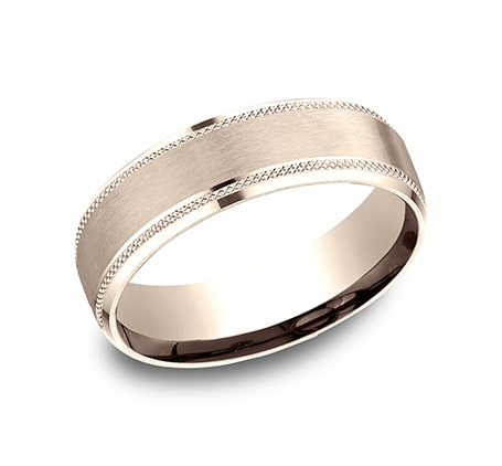 Benchmark CF665321R Rose 14k 6.5mm Men's Wedding Band Ring