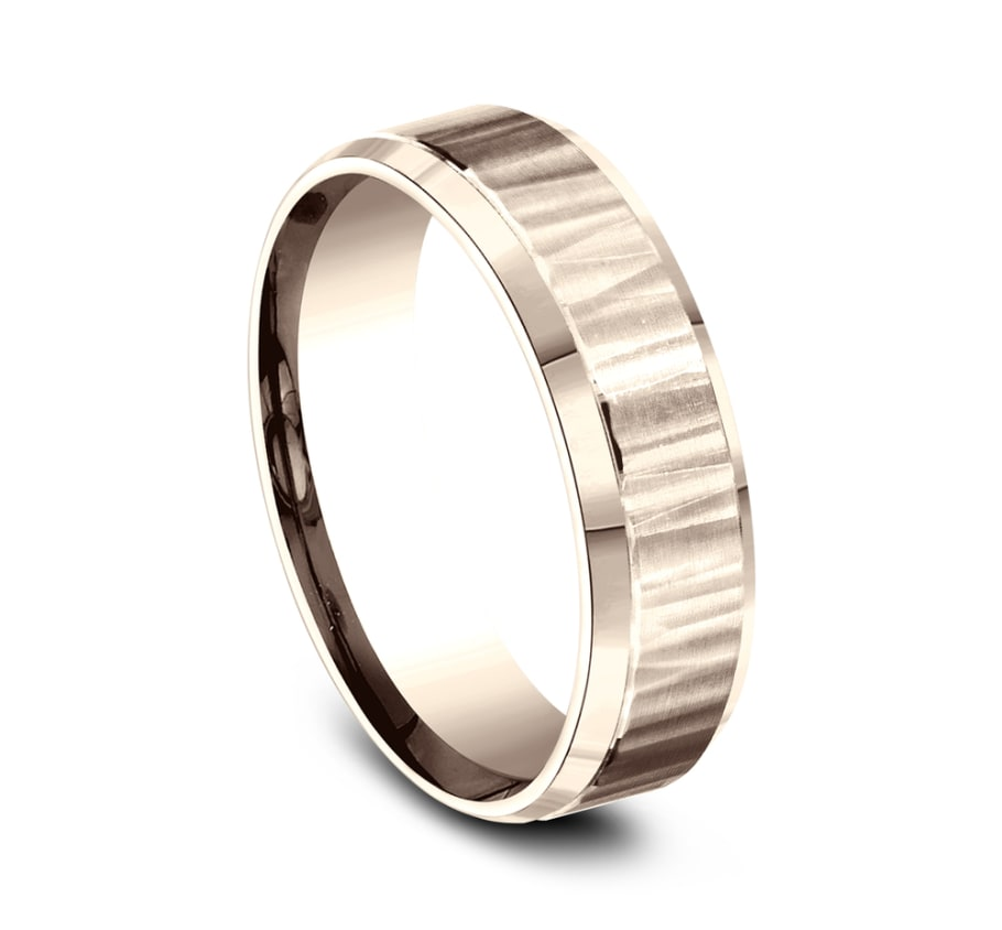 Benchmark CF66614R Rose 14k 6mm Men's Wedding Band Ring