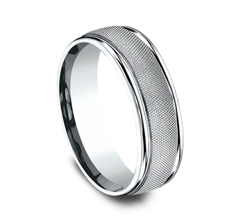Benchmark CF67469W White 14k 7mm Men's Wedding Band Ring