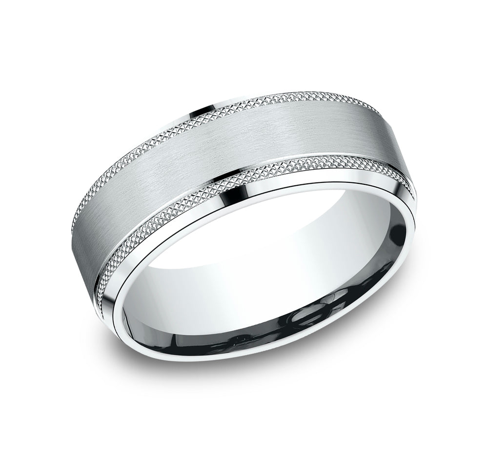 Benchmark CF68321W White 14k 8mm Men's Wedding Band Ring