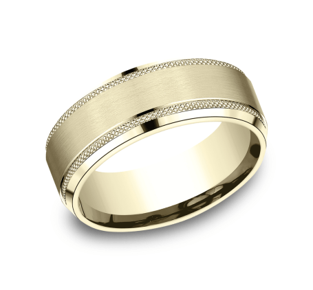 Benchmark CF68321Y Yellow 14k 8mm Men's Wedding Band Ring