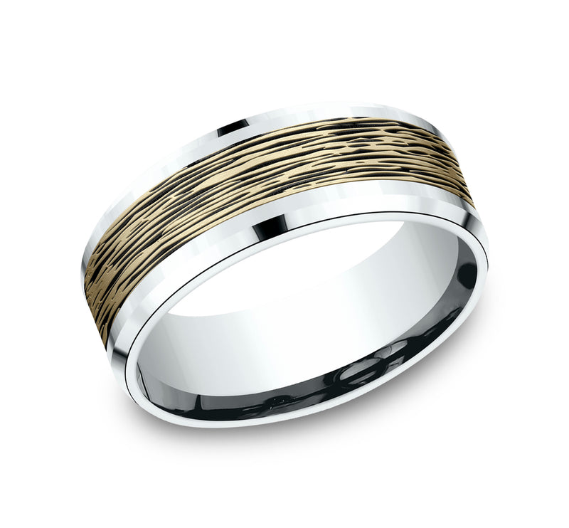 Benchmark CFBP818399 Multi Color 14k 8mm Men's Wedding Band Ring