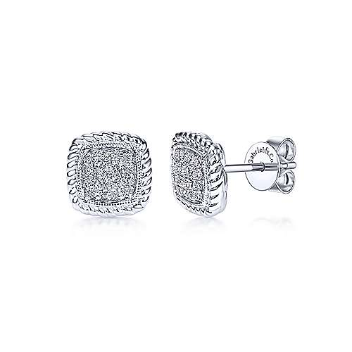 Gabriel & Co. 14k White Gold Twisted Cluster 0.17ct Diamond Stud Earrings EG11556W45JJ