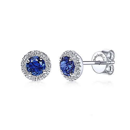 Gabriel & Co. 14k White Gold Round 0.17ct Diamond Halo Sapphire Stud Earrings EG11602W45SA