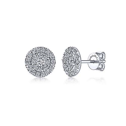 Gabriel & Co. 14k White Gold Double Diamond Halo Stud Earrings EG11685W45JJ