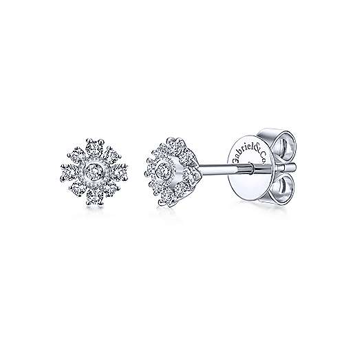 Gabriel & Co. 14k White Gold Dainty Floral 0.11ct Diamond Stud Earrings EG12376W45JJ
