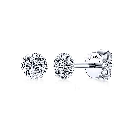 Gabriel & Co. 14k White Gold Floral Round 0.10ct Diamond Stud Earrings EG12377W45JJ