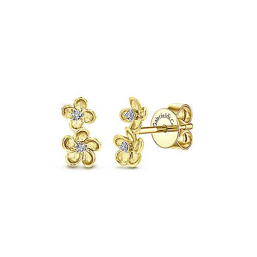 Gabriel & Co. 14k Yellow Gold Stacked Flower 0.04ct Diamond Stud Earrings EG12465Y45JJ