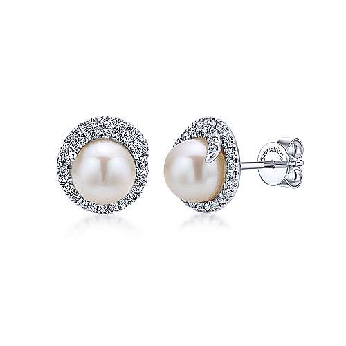 Gabriel & Co. 14K WGold Pearl 0.31ct Diamond Earring EG12597W45PL