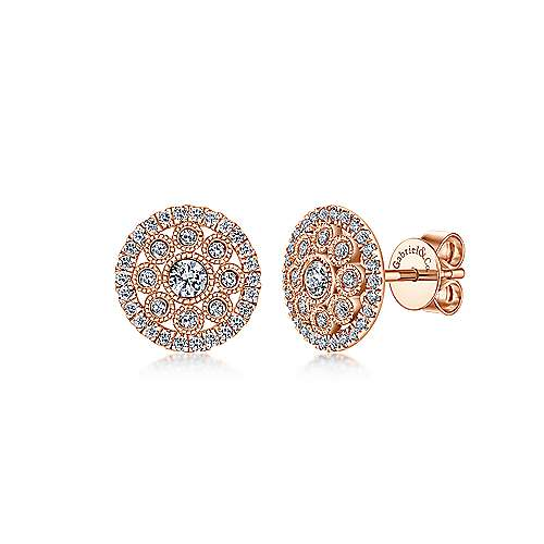 Gabriel & Co. 14k Rose Gold Openwork Round 0.33ct Diamond Stud Earrings EG12662K45JJ
