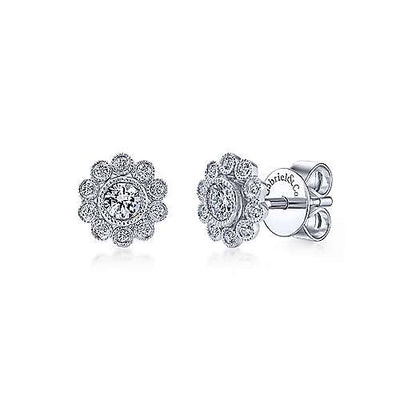 Gabriel & Co. 14k White Gold Bezel Set Round 0.24 ct Diamond Flower Stud Earrings EG12865W45JJ