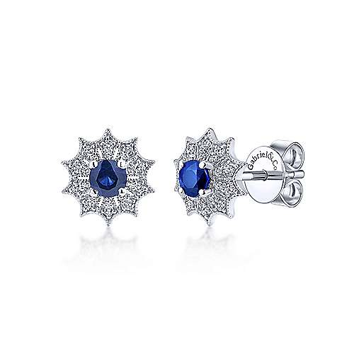 Gabriel & Co. 14k White Gold Scalloped 0.19ct Diamond Starburst Sapphire Stud Earrings EG12945W45SA